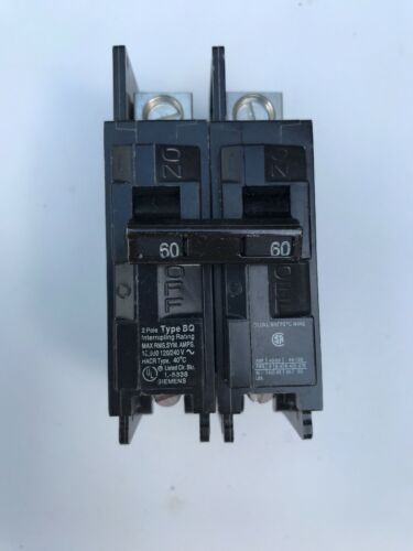 ITE SIEMENS BQ2B060L 2 POLE 60 AMP 120//240V BREAKER BQ 60Hz