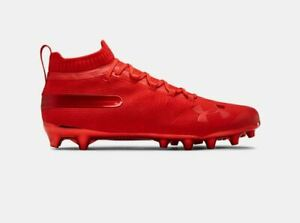 New Mens Under Armour Spotlight Suede Mc Football Lacrosse Cleats Red Sz 9 M Ebay