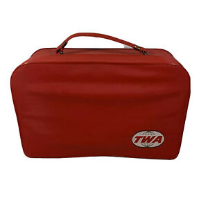 Vintage-TWA-Trans-World-Airlines-Red-White-Airline-Travel-Bag-Luggage-Suitcase