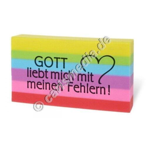 """Radiergummi /""""GOTT LIEBT MICH MIT MEINEN FEHLERN!/"""" Ideales Geschenk Schule *NEU*"""