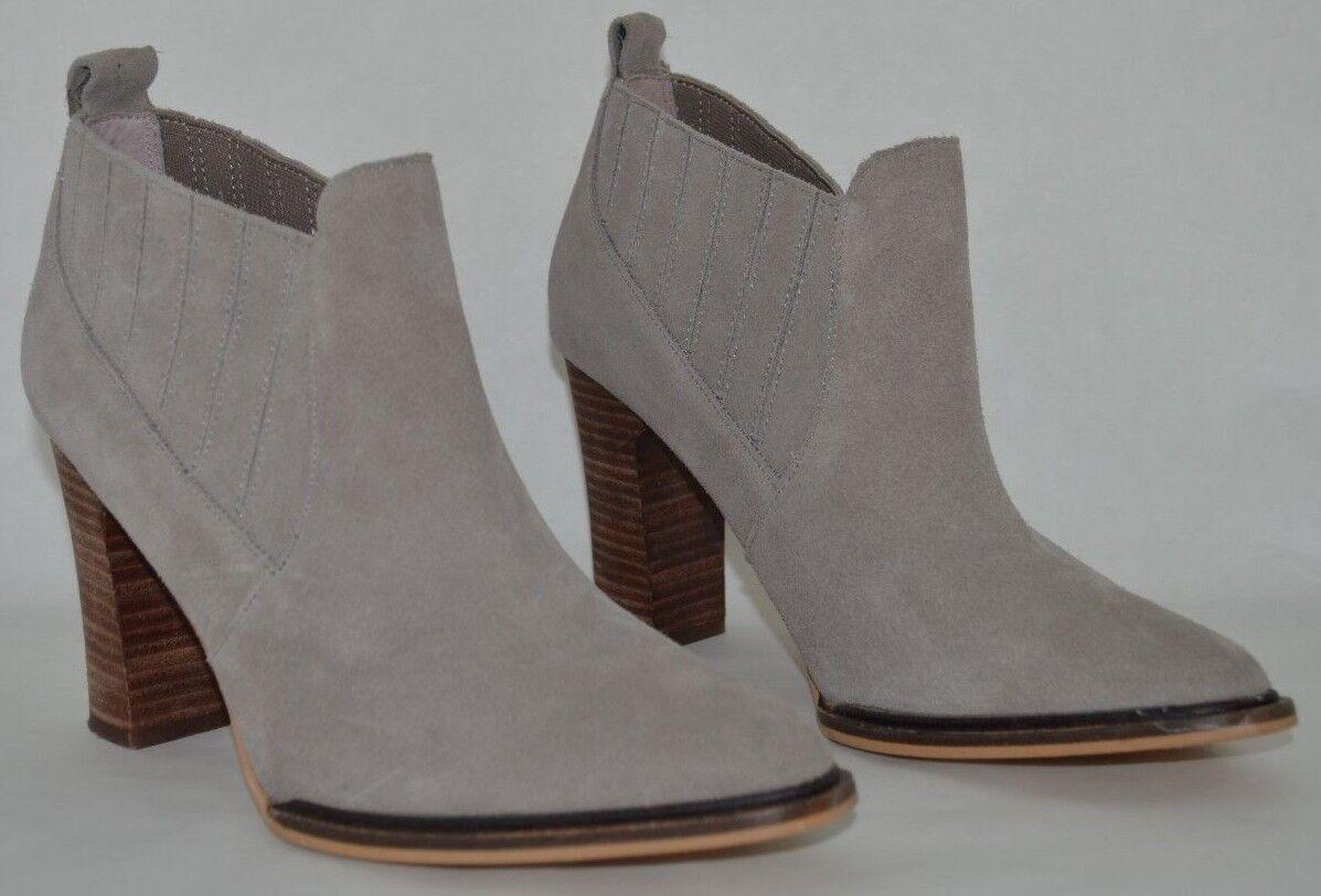 Farylrobin Womens Slate Grey Suede Leather Pointy Toe Chelsea Ankle Bootie 8.5