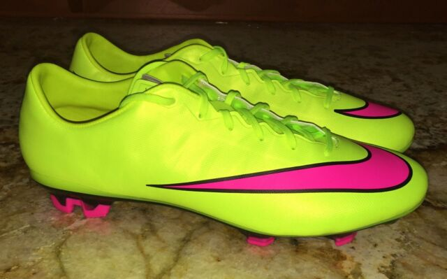 4a7433d02c0 NIKE Mercurial Veloce II 2 FG Volt Yellow Pink Soccer Cleats NEW Mens 8  10.5 12