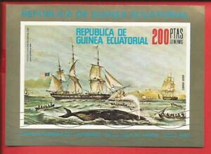 Segelschiff Walfangschiffe Block 249 Äquatorialguinea Briefmarken