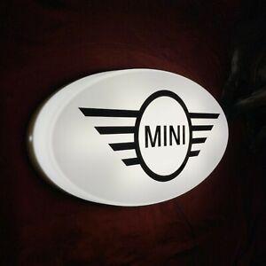 MINI LED ILLUMINATED LIGHT UP GARAGE SIGN PETROL GASOLINE OIL AUTOMOBILIA COOPER
