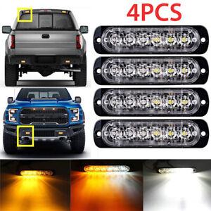 4X Amber//White 6LED Car Truck Emergency Beacon Warning Hazard Flash Strobe Light
