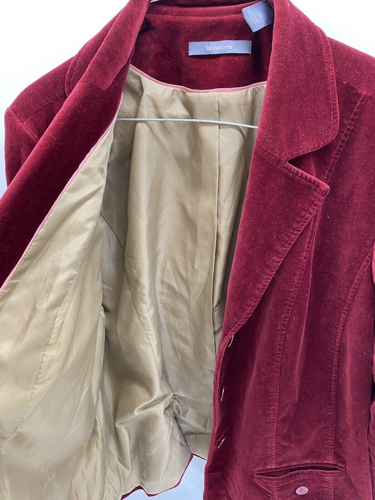 Liz Claiborne Red suede lined jacket/blazer Mediu… - image 3