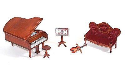 MUSIKZIMMER PIANO VIOLINE/GEIGE 1:12 5teilig HANDARBEIT