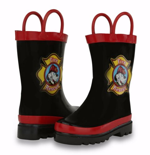 Toddler//Little Kid Puddle Play Boy/'s Black Fire Dog Rain Boots GNR39705WM