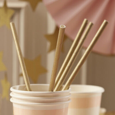 Metallic Gold Party Straws, Pack of 25 Gold Paper Drinking Straws