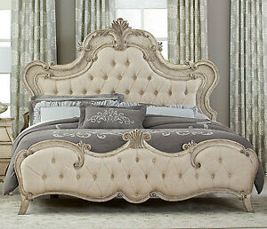 ROMANTIC FRENCH PROVINCIAL STYLE ANTIQUE GRAY QUEEN BED