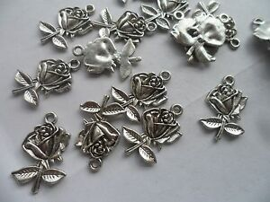 20-x-New-ROSE-Charms-beads-26x23mm-Tibetan-Silver-Card-Jewellery-Making-crafting