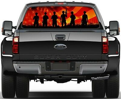 Army USA American Flag Rear Window Graphic Decal  Truck Van
