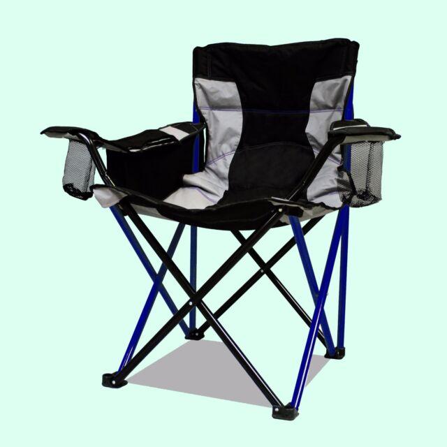 CAMP CHAIR 500lb Cap. Armrest Cooler HEAVY DUTY Folding Wide Seat Tailgate Blue