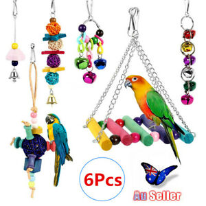 6x-Parrot-Hanging-Swing-Bird-Toy-Harness-Cage-Toys-Parakeet-Cockatiel-Budgie-AU