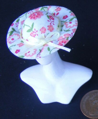 1:12 Scale Medium Pink /& Green Cloth Floral Ladies Hat Dolls House Clothing SA