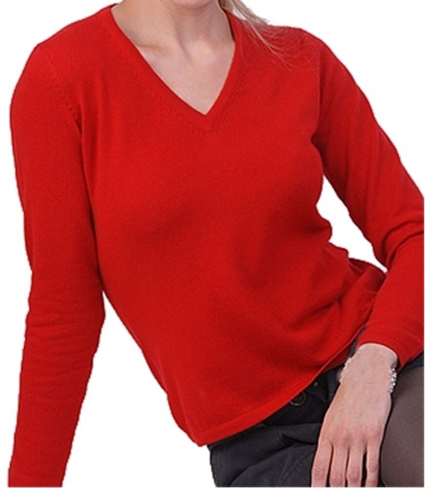 Balldiri 100% Cashmere Damen Pullover 2-fädig V-Ausschnitt rot S