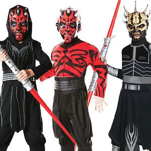 Image is loading Darth-Maul-Boys-Star-Wars-Halloween-Villain-Fancy- & Darth Maul Boys Star Wars Halloween Villain Fancy Dress Kids Child ...