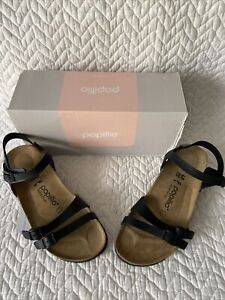 BIRKENSTOCK PAPILLO Lana Black Leather 40 N  Heel Strap New In Box Authentic $99