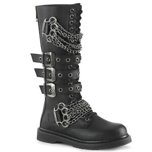 Demonia BOLT-450 Men's Punk Goth Biker Combat Mosh-Pit Emo Chains Knee Boots