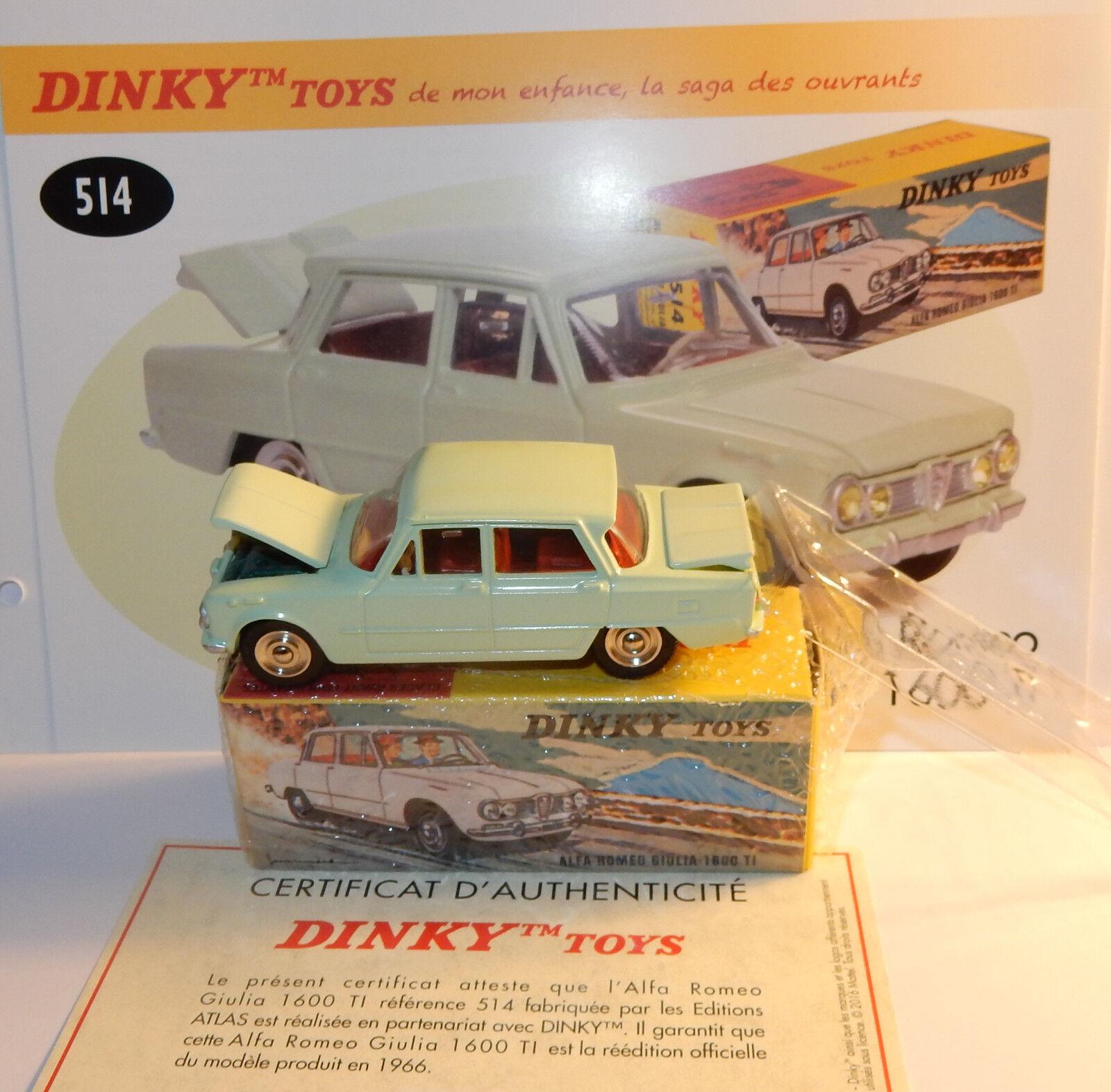DINKY DINKY DINKY TOYS ATLAS ALFA ROMEO GIULIA 1600 TI verde PALE REF 514 IN BOX 1 43 0f2cc1