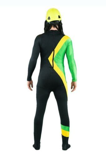Mens Jamaican Rasta Hero Costume Bobsleigh Bobsled Team Jumpsuit Running Suit
