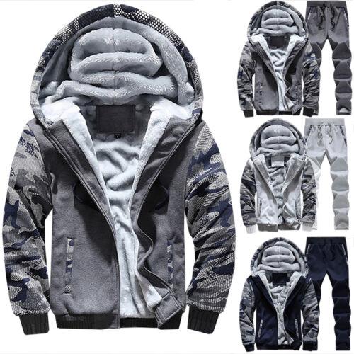 Herren Trainingsanzug Winter Fleece Kapuze Mantel Hose Jogginganzug Sportanzug