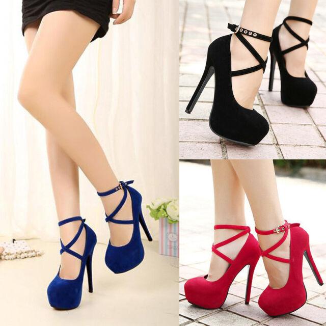 Womens Ankle Strap Sexy Hidden Platform Stiletto Wedding High Heels Pumps Shoes