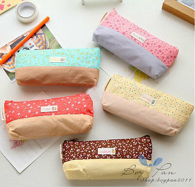 Stylish Kid Girls sweet Floral Cartoons Pencil Bag School Pencil Box Cases