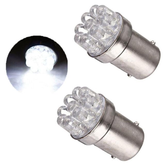 2X White 1156 BA15S 9 SMD LED Light bulbs Lamp Turn Signal Backup Reverse 12V