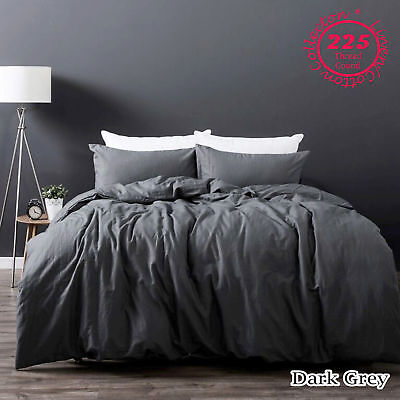 Dark Grey LINEN COTTON Vintage Wash Quilt Doona Cover Set QUEEN KING Super King