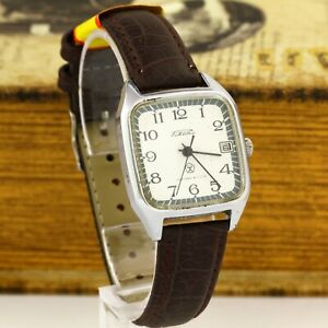 RAKETA 2614.H mechanical men's USSR Soviet wristwatch 19 jewels date White dial