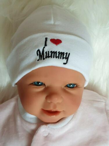 """Baby Beanie  Neugebore  Säuglinge Baumwollmützchen /""""I love/""""  Mummy Daddy"""