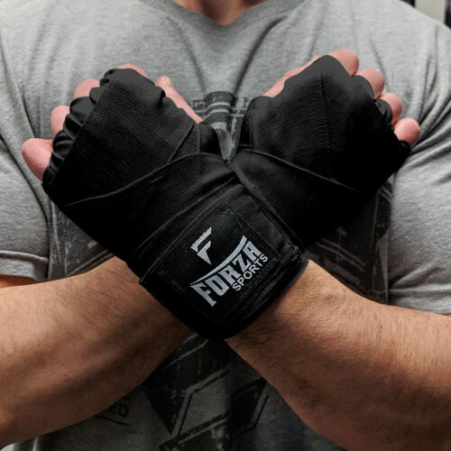 """Forza Sports 180/"""" Mexican Style Boxing and MMA Handwraps Black"""