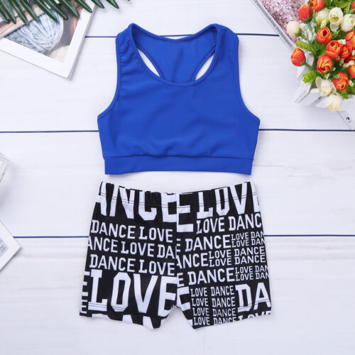 Girls Sports Outfits Kid Dance Costume Gymnastics Crop Top+Shorts Activewear Set