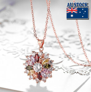 18K-Rose-Gold-Filled-multi-color-Cubic-Zirconia-Crystal-Flower-Pendant-Necklace