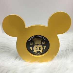 NEW-Disney-Parks-Mickey-Mouse-Icon-3-7-034-Round-Photo-Picture-Frame-Yellow-Gold