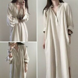 Lady-Loose-Long-Shirt-Blouse-Dress-Retro-Casual-Cotton-V-neck-Oversized-Casual