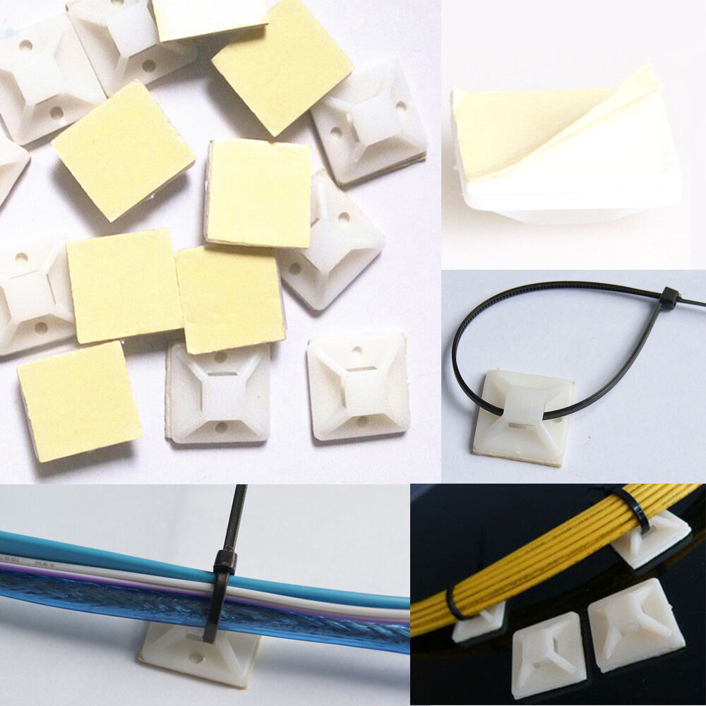 3m Cable Ties : Lots plastic cable zip tie mounts m self adhesive wall