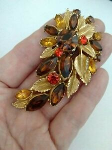 Vintage-Signed-Sphinx-Topaz-Citrine-Glass-Gold-Tone-Flower-Statement-Brooch-Pin