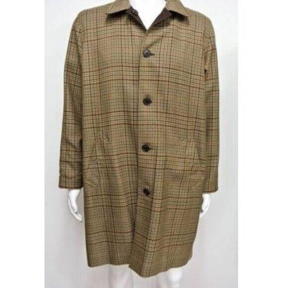 LAUREN Ralph Lauren Wool Houndstooth Brown Cotton Reversible Overcoat-Medium