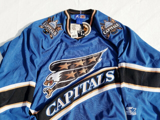 f2a7fe5ec35 New Washington Capitals Jersey Starter Blue Mens Large L Screaming Eagle nhl