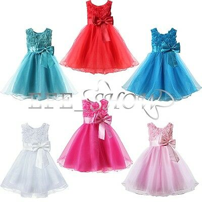 Girls Kids Christmas Princess Xmas Birthday Wedding Party Flower Dress Clothes