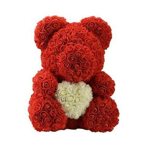 Details About 15 Rose Bear Heart Roses Flower Crafts Valentines Day Birthday Gifts Girls Red