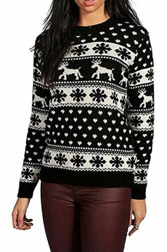 Ladies Xmas Reindeer Snowflake Long Sleeves Women Christmas Jumper Sweater UK