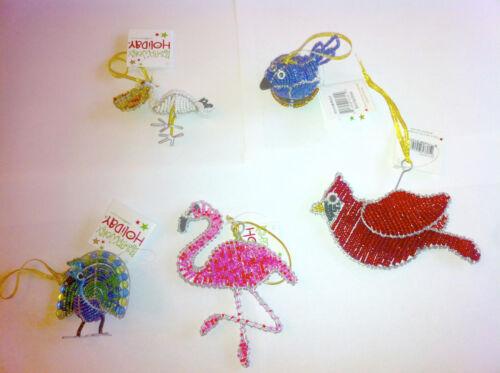 Beadworx Bird Ornaments Flamingo Peacock Cardinal Pelican Blue Or Bird In Nest
