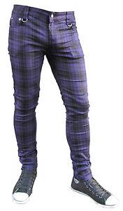 Mens-Purple-Black-Tartan-Slim-Skinny-Jeans-Indie-Emo-Punk-Rock-Retro-New-Zips