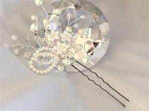 ** Mariage ** Perle Fleur & Clear Ab Crystal Épingle À Cheveux Mariée Demoiselle D'honneur Sil/gld-afficher Le Titre D'origine