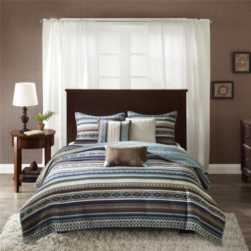 BEAUTIFUL MODERN BLUE BROWN TEAL IVORY TEXAS SOUTHWEST COUNTRY CABIN QUILT SET