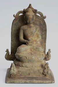 Antico-Indonesiano-Stile-Bronzo-Seduta-Giavanese-Amitabha-Statua-di-Buddha