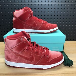 buy online 94617 d5fbd Image is loading Nike-SB-Dunk-High-Premium-Red-Velvet-Gym-